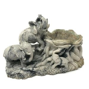 Other - Elephant Family Pillar Candle Holder Carved Marble